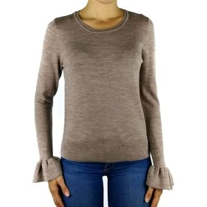 Nanette Lepore taupe merino wool flounce sweater